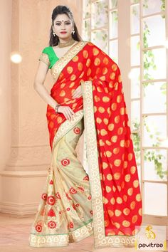 Be in fashion with festival and marriage special best cream and red net wedding wear saree with best price. The stylish fancy wedding party wear saree with embroidery work and butti allured with stone for upcoming Diwali, New Year and wedding saree online. #sarees, #embroiderysaree, #partywearsaree, #diwalisareecollection, #weddingwearsaree, #indiansaree, #sareewithblouse More : http://www.pavitraa.in/store/party-wear-saree/ Call / WhatsApp : +91-76982-34040  E-mail: info@pavitraa.in