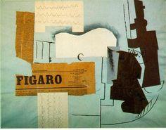 Bottle of Vieux Marc, Glass, Guitar and Newspaper. (1913). Pablo Picasso. Periodo: Cubismo sintético.