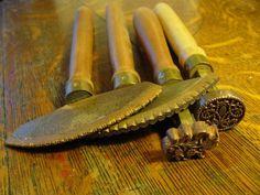 copper hand gilding tools, pallets, fleuron, centers