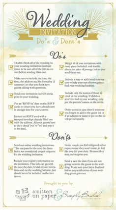 A super helpful guide of Dos and Don'ts for your wedding invitation from Smitten on Paper & Simply Bridal!  http://www.modwedding.com/2014/10/07/6-super-helpful-infographics-answer-questions-wedding-invitations/ #wedding #weddings #wedding_invitation