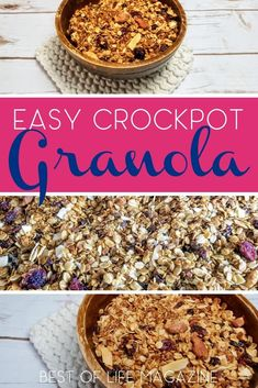 Make your own healthy crockpot granola recipe at home. This slow cooker granola recipe is gluten free and vegan free, too, making it an allergy friendly recipe. Healthy Crockpot Ideas | Easy Crockpot Recipes | Easy Granola Recipe | Vegan Recipes #crockpot