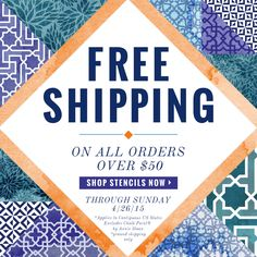 It is a HAPPY Friday indeed when orders $50 and over have FREE SHIPPING on stencils, wall stencils, and furniture stencils from Royal Design Studio! Save from 4/24/15 through 4/26/15 >> www.royaldesignstudio.com