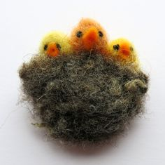 Needle felted brooch - bird nest felted brooch - bird pin - fibre pin - needle felted pin - animal  brooch - clothing accessory - uk seller by itsaMessyNest on Etsy