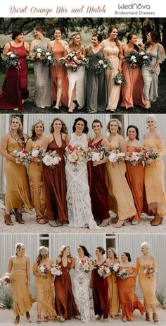 Trending 15 Ideas for Burnt Orange Bridesmaid Dresses for 2019 is part of Orange bridesmaid dresses - In the last article we showed you 10 Hot Wedding Color Trends for one color among them is u Burnt Orange Bridesmaid Dresses, Burnt Orange Weddings, Orange Wedding Colors, Burnt Orange Dress, Fall Wedding Colors, Wedding Bridesmaid Dresses, October Wedding Colors, October Wedding Dresses, Orange Wedding Dresses
