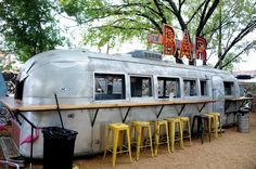 Love the built in bar and chairs around the airstream! 5 favorite things about funky food trailer park Truck Yard on Lower Greenville Foodtrucks Ideas, Dallas, Food Truck Design, Food Design, Design Ideas, Dallas Food, Coffee Trailer, Food Truck For Sale, Root Beer