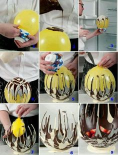 How to make a chocolate bowl using a balloon!! This is a great idea!!! Gonna do this for a baby shower coming up!