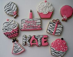 Hot Pink and Black and White Zebra Birthday by charmingtreats4you, $34.00