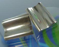 Vintage Modernist Sterling 925 Silver Cufflinks Danish Denmark : Designer Signed David Bendy