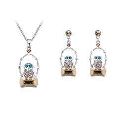 Austrian Crystal Set - Water Spirit Love (Silver Night Shadow + Golden Phantom) Fine Jewelry NHKSE30267--US$12.28