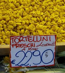 Fresh pasta--from an outdoor pasta stall in Bologna, Italy (which is reported to have the best food in Italy. Just think about that for a moment...)