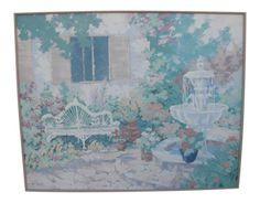 White Garden Bench, Traditional Frames, White Gardens, Spring Garden, Pastel Colors, Vintage Decor, Garden Landscaping, Still Life, Fountain