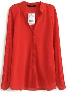 Red Stand Collar Long Sleeve Slim Blouse US$26.89
