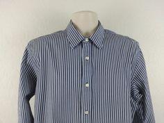 BANANA REPUBLIC Men's Dress Shirt 16-16 1/2 Long Blue Striped Button Down Cotton #BananaRepublic #ebay #BananaRepublic #DressShirt