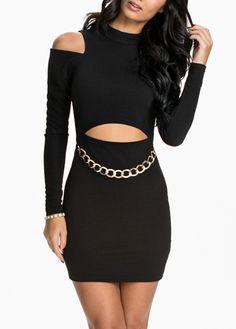 Cutout Pattern Long Sleeve Black Bodycon Dress