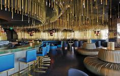 lounge, restaurant, blue and gold,
