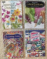 "Lot Of 4 Brand New Floral/Garden, Travel/Outdoors/Architecture & Fantasy themed Adult Coloring Books.   1 book is ""serenity garden"" themed (butterflies, garden insects & scenes, etc),  1 book is fantasy ""designs to enchant"" themed (mermaids, fairies, castles, etc.),  1 book is ""In Living Color"" (architecture, travel, street views, museum/culture, etc.) themed, and 1 book is ""home sweet home"" (interior architecture/design, exterior of homes, city scapes/street views, etc.) themed."