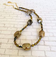 Marble Stone Necklace Amber Gold Brown Short Necklace Beaded