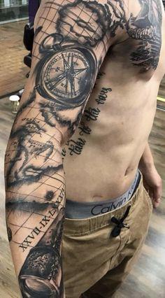 Travel tattoo nautical tattoo sleeve, leg sleeve tattoo, half sleeve tattoos for men, Map Tattoos, Side Tattoos, Arm Tattoos For Guys, Body Art Tattoos, Usmc Tattoos, Arm Sleeve Tattoos, Tattoo Sleeve Designs, Tattoo Designs Men, Ship Tattoo Sleeves