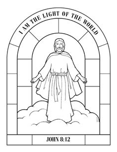 I am the light of the world John 8:12 Free Printable coloring page!