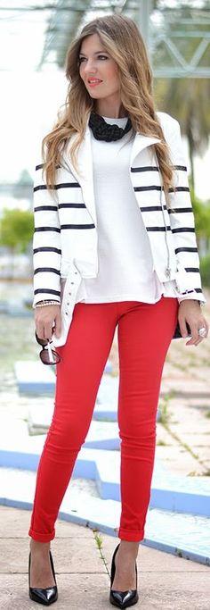 Choies Faux Leather Striped Moto Jacket by Mi Aventura Con La Moda