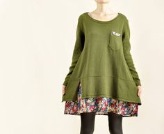 New Fashion Women Green Sweater Long Sleeve Cotton Sweater Loose Fit Sweater With Floral Hem on Etsy, $56.00
