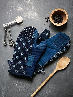 Kiriko Denim Oven Mitts Style: 38587275 on Free People