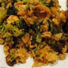 This is a simple stir fry recipe with broccoli, green onions, eggs, soy sauce and rice. You can modify this recipe to include any veggies you choose.