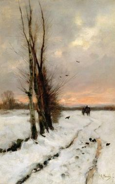 Anton Mauve (1838-1888),  nieve paisaje al atardecer...