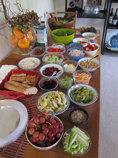salad bar: perfect/simple idea for a lunch get together or hosting a party.  have everyone bring 2-3 of their favorite salad toppings...