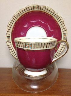Vintage Royal Albert Crown China Tea Cup Saucer Dark Pink Gold | eBay