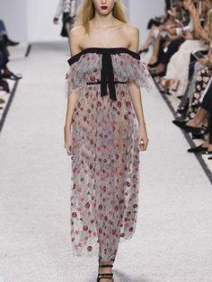Polychrome Floral Off Shoulder Ruffle Detail Dress
