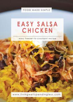 Easy Salsa Chicken | Food Made Simple |  Freezer Cooking | Main Course Meat | Chicken Recipe | Simple Salsa Chicken Recipe   via @lwsl