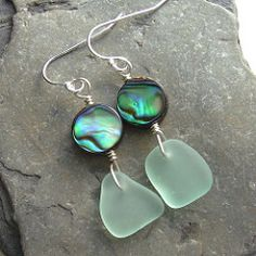 Abalone & Green Hawaiian Sea Glass Earrings | by I'm cindylouwho2