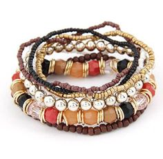 Brown 7 Piece Multicolor Beaded Bracelet Set