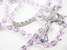Violet Lavender Lilac Purple Catholic Rosary - Baptism, First Communion, Confirmation - Custom Rosary Personalized Rosary on Etsy, $40.00