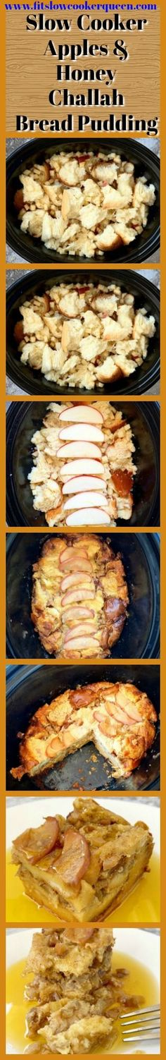 This apples & honey slow cooker bread pudding made with challah bread is a great dessert to serve at your Rosh Hashanah dinner…or anytime! Slow Cooker Apples, Slow Cooker Desserts, Healthy Slow Cooker, Slow Cooker Bread Pudding, Challah Bread Pudding, Great Desserts, Dessert Recipes, Queens Food, Unsweetened Applesauce