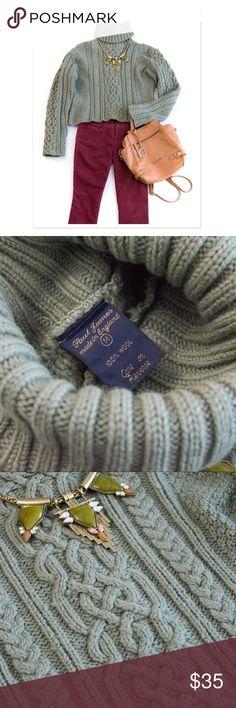 Paul James Green Cropped Turtleneck Aran Sweater M 100% wool chunky knit turtleneck sweater. Irish Aran knit style. Tag says Size medium. Hand wash and lay flat to dry. Paul James Sweaters Cowl & Turtlenecks