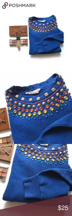 Bejeweled Alternatives Prime Crew Sweatshirt * Cute prime crew sweatshirt * Royal blue color * Bejeweled neckline  * Gently used, good condition * No specific size, but fits like a Large (I'm a true medium) * Alternatives Brand  * Various color jewels * Read beaded neckline  * Gold squares Alternatives Tops Sweatshirts & Hoodies