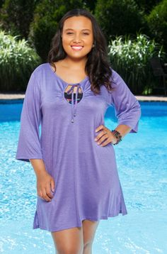 Don't forget to take this new Always For Me Swim Cover-Up along on those cooler sun filled days by the water. This new Always For Me Long Sleeve Keyhole Tunic is the perfect cover up for when you mig
