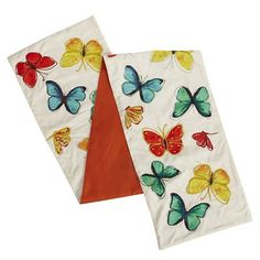 so pretty and whimsical. Watercolor Butterfly Table Runner