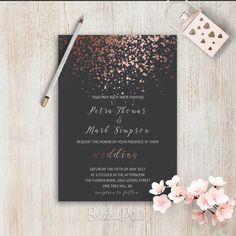 Elegant Wedding Invitations Simple Wedding Invitation Rose Gold Grey Wedding Invitation Set Modern Wedding Invitation Suite Pink Grey Invite ************ This elegant wedding set include only DIGITAL FILES (please note that there are no physical prints shipped): • Wedding invitation -