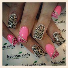 Pink Cheetah & Gold Zebra Bling Nails