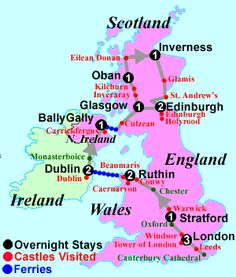Best Castles of Britain and Ireland Tour Map