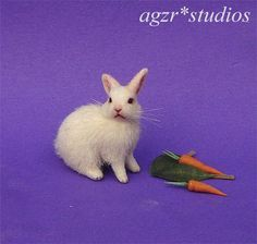Miniature Rabbit and Carrots - 1:12 scale