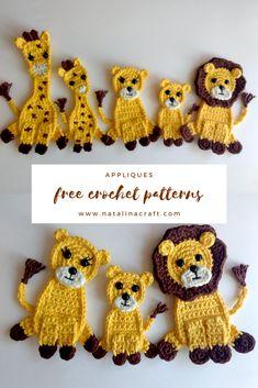 Free Crochet Pattern Jungle Appliques - These Free jungle appliqués crochet patterns are great to make the cutest giraffe and lion appliqu - Crochet Amigurumi, Crochet Bunny, Cute Crochet, Crochet Crafts, Crochet Flowers, Crochet Projects, Knitting Projects, Appliques Au Crochet, Crochet Applique Patterns Free
