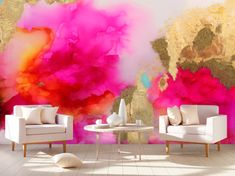 """Puffy clouds of pink will liven up even the smallest darkest spaces with our """"Sugar Coral"""" print. Gold, yellow, orange, coral, and peach work together to produce an electric image that will be the star of an interior landscape. Create an authentic gilded look onto the """"Sugar Coral"""" Mural with the complimentary gold kit. If you need additional information or would like to see our murals in a different size or color let us know! Prepasted Wallpaper, Vinyl Wallpaper, Peel And Stick Wallpaper, Watercolor Wallpaper, Wallpaper Designs, Adhesive Wallpaper, Marble Vinyl, Gold Marble, Sparkle Wallpaper"""