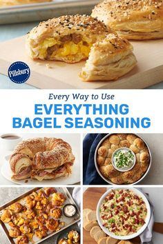 Everything bagel seasoning really makes everything better! From breakfast biscuits to Bundt bakes, there's a savory dish that always does the trick when you have a hungry family waiting at the table. Healthy Breakfast Recipes, Brunch Recipes, Yummy Recipes, Dinner Recipes, Dessert Recipes, Fun Food, Good Food, Yummy Food, Pillsbury Recipes