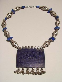 by Marie-Ange van Son ~ Tribal Gallery | necklace; made using an old large silver and royal blue enamelled pendant from the Punjabi region of Pakistan, Multan, and 10 old handcrafted high quality silver beads and lapis lazuli beads.  | ~ 340$