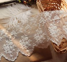 Lace trim with cotton floral embroidery scallop bridal by lacetime