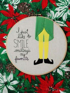 Smiling's My Favorite - Christmas Embroidery Hoop art  - Elf